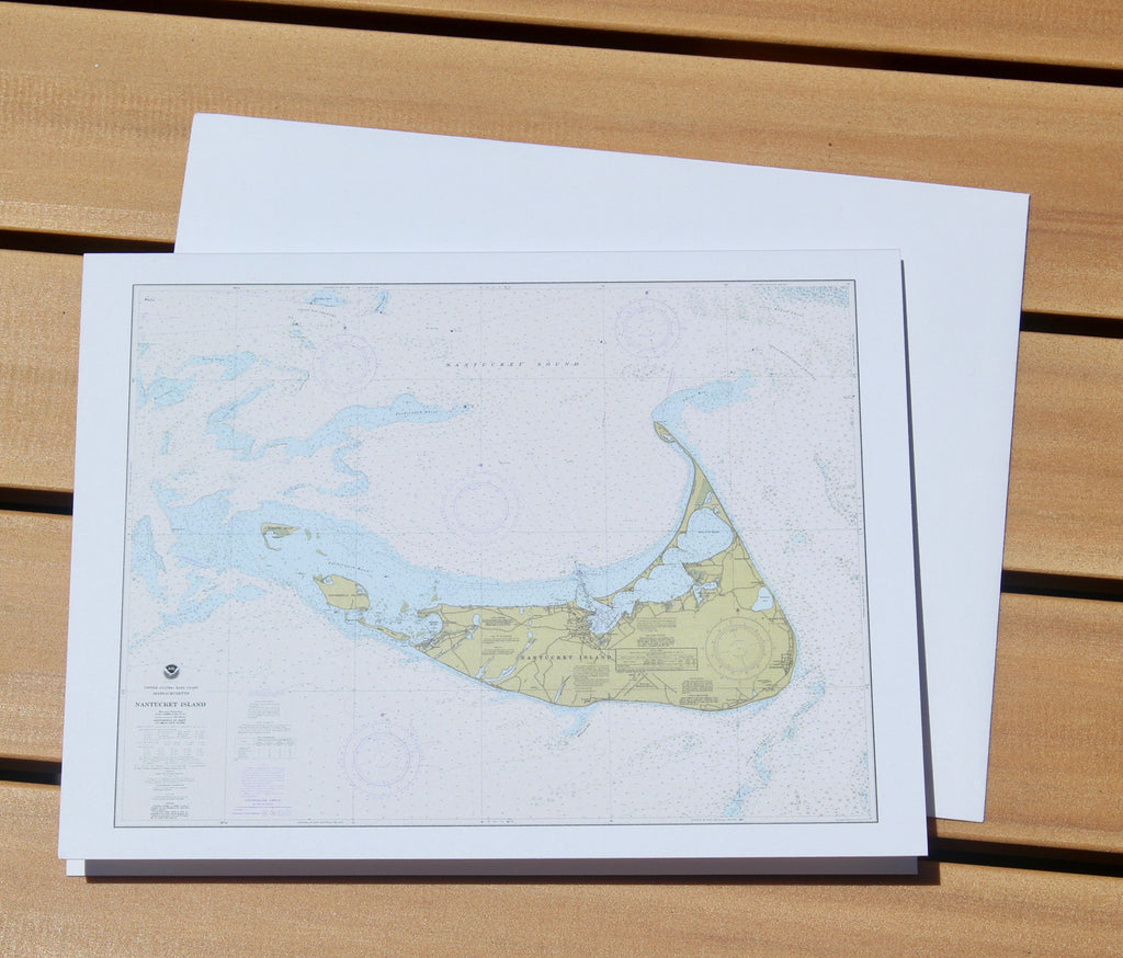 "Nantucket Island Map Notecards 4.25""x5.5"""
