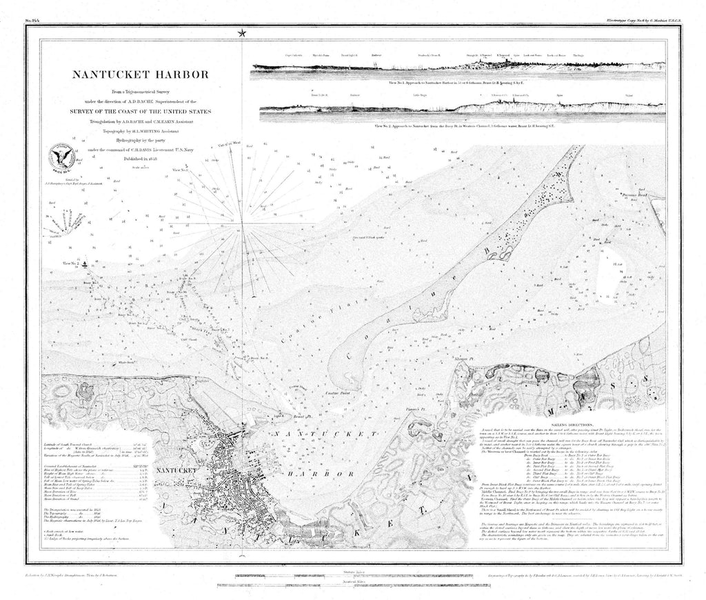 Nantucket Harbor Historical Map - 1848