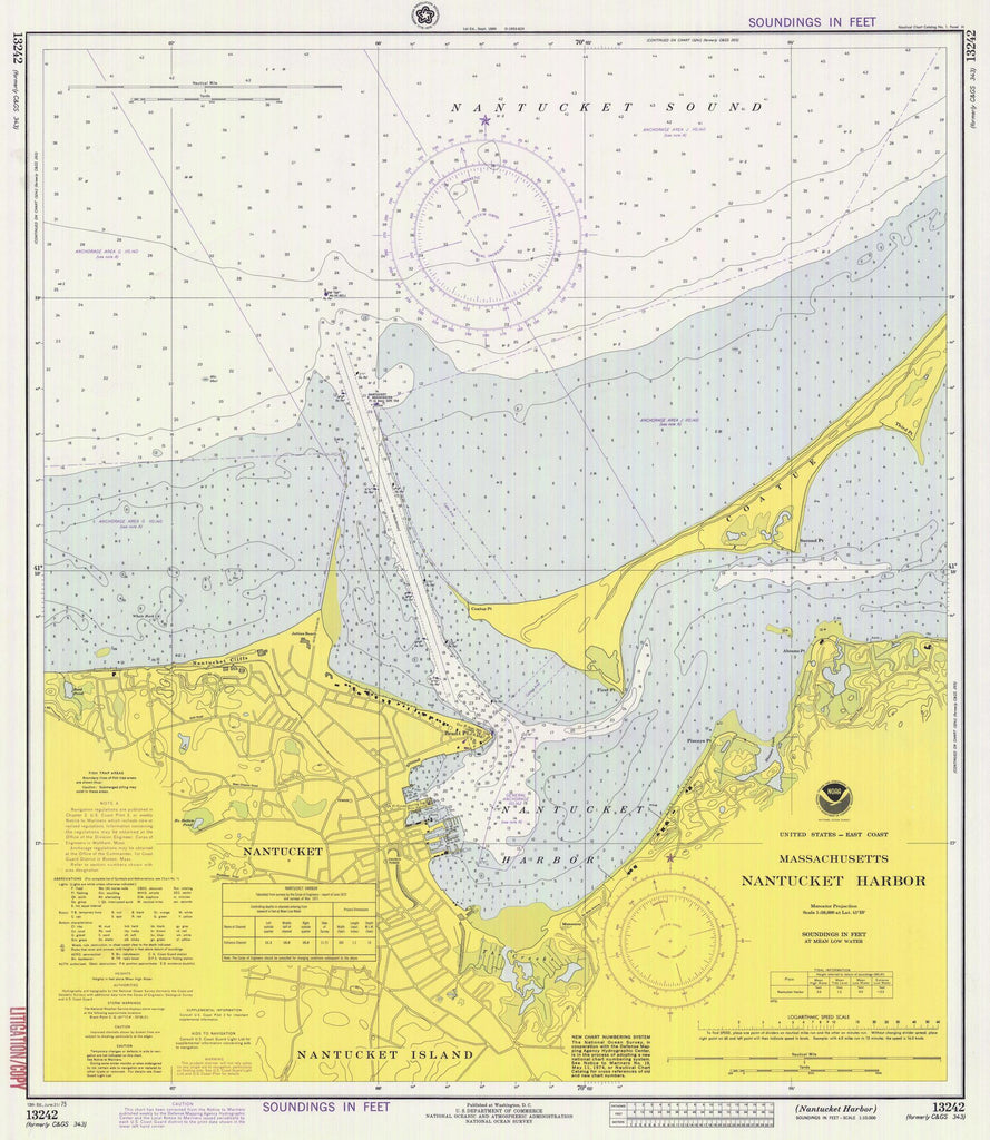 Nantucket Harbor Map - 1975