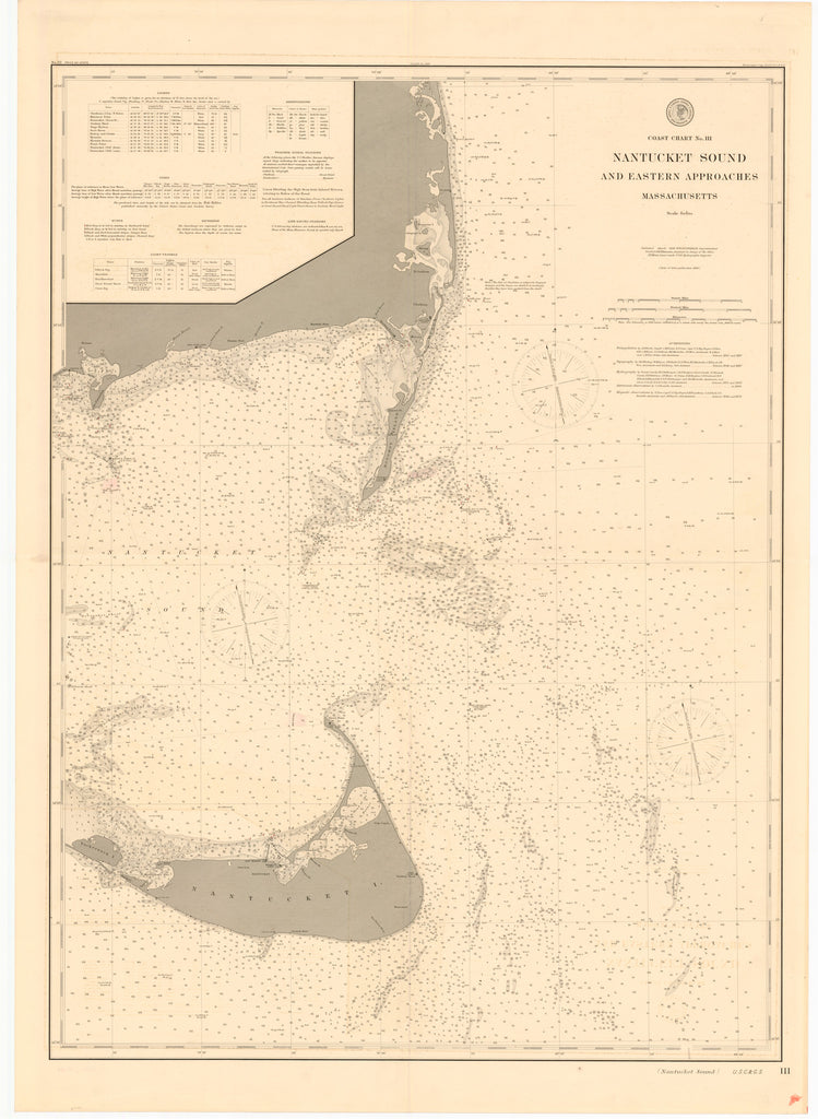 Nantucket Sound and Approaches Historical Map - 1896