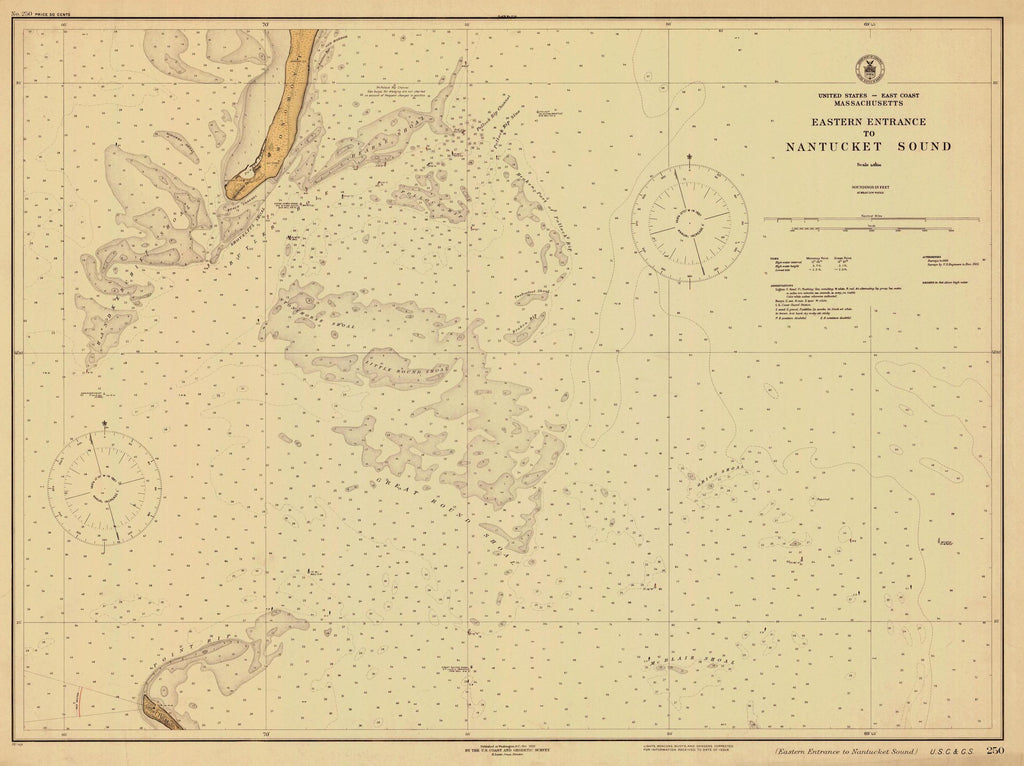 Nantucket Sound and Eastern Approaches Map - 1926