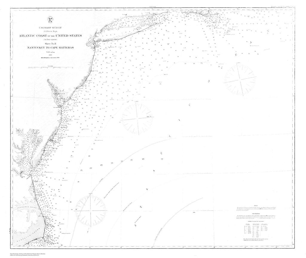 Atlantic Coast - Nantucket to Cape Hatteras Map - 1878