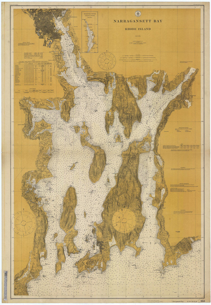 Narragansett Bay & Newport Harbor Map - 1915