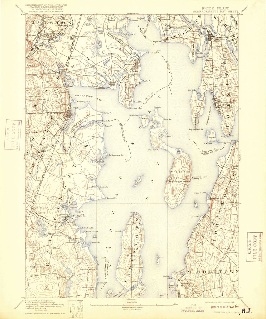 Narragansett Bay & Newport Harbor Geographical Map - 1892