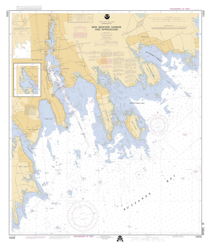 New Bedford Harbor & Approaches Map - 1995