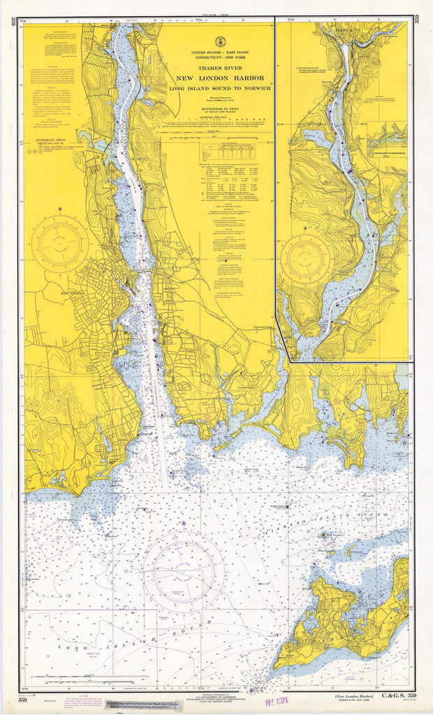 New London Harbor - Thames River Map - 1969