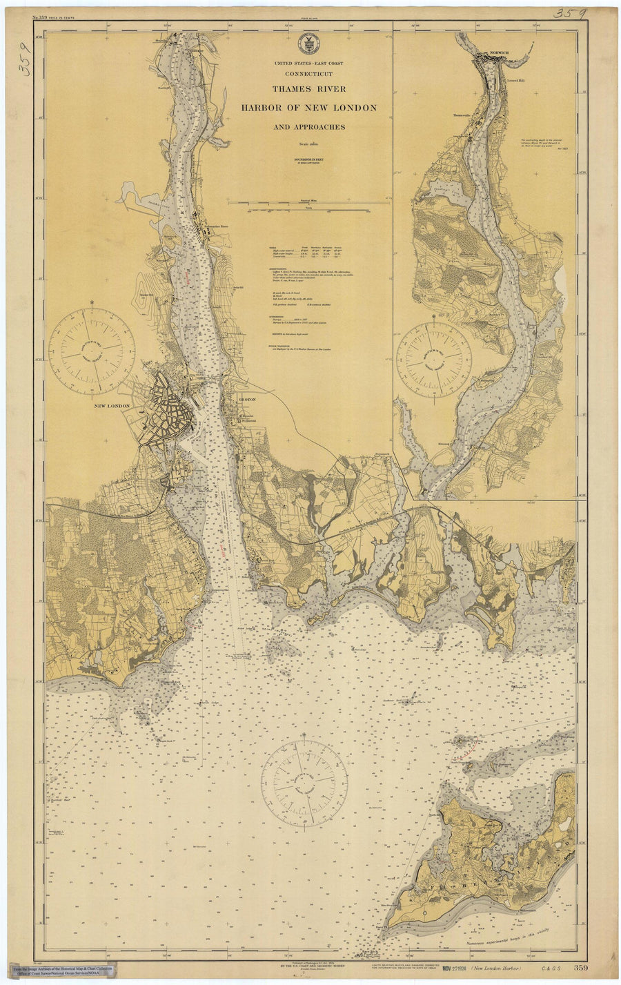 New London Harbor - Thames River Map - 1924