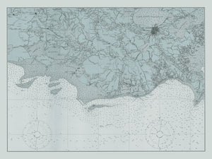 New Orleans & Gulf of Mexico Map (Light Blue) - 1925