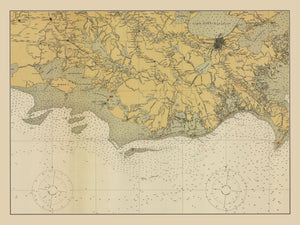 New Orleans & Gulf of Mexico Map - 1925