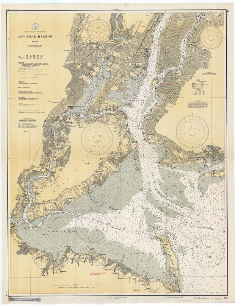 Map Of New York Harbour.New York Harbor Map 1936