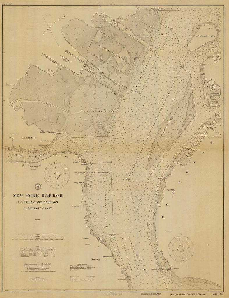 New York Harbor Historical Map - 1916