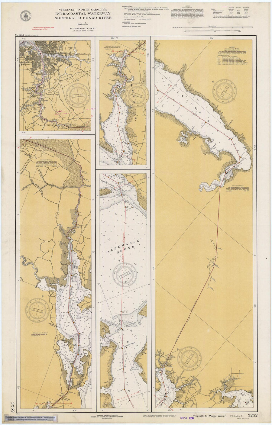 Norfolk to Pungo River - Intracoastal Waterway Map - 1936