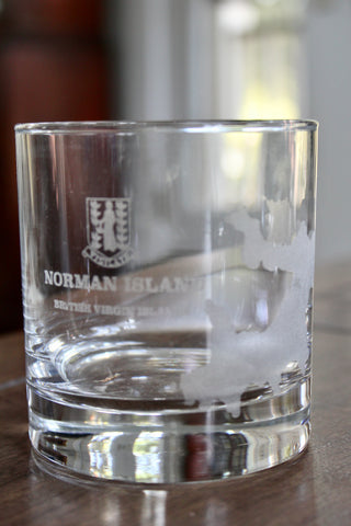 Norman Island BVI Map - Engraved Rocks, Stemless Wine & Pint Glasses