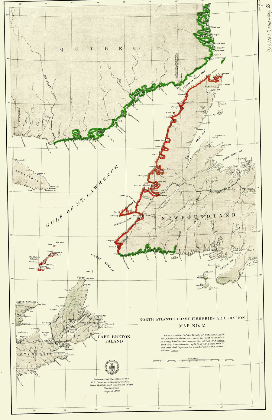 North Atlantic Fisheries - Cape Breton Island & Newfoundland Map