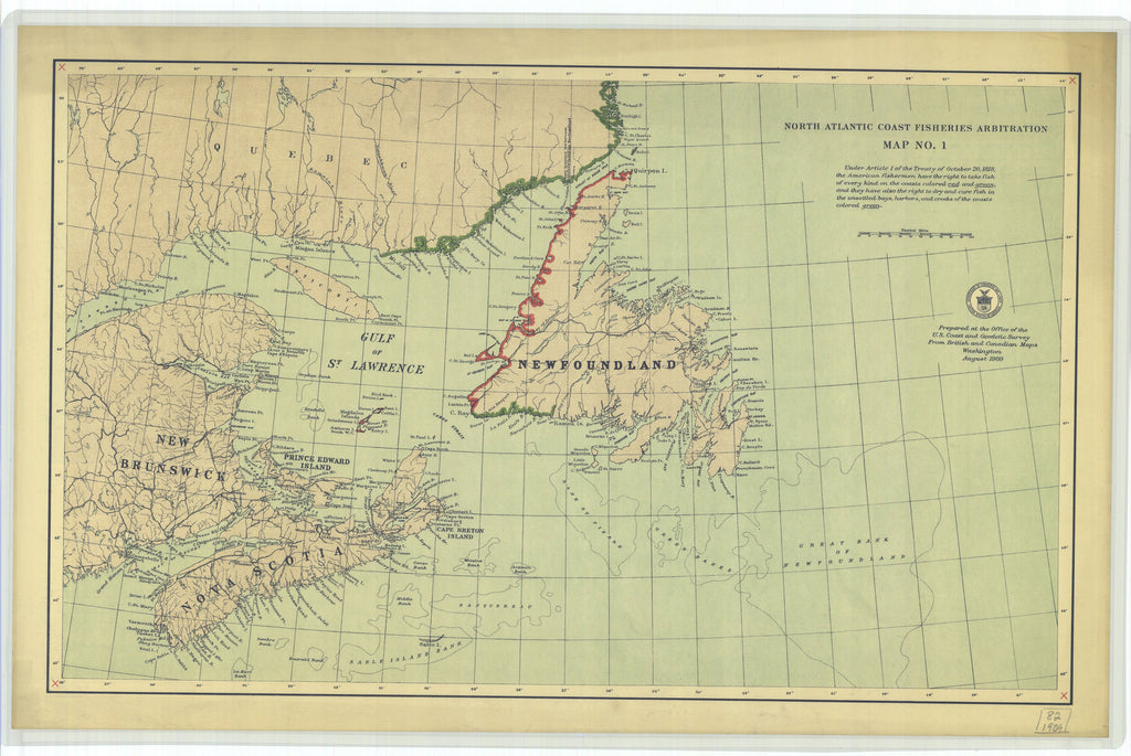 North Atlantic Fisheries Historical Map - 1909