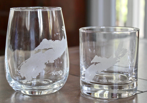 Nova Scotia Map - Engraved Rocks, Stemless Wine & Pint Glasses