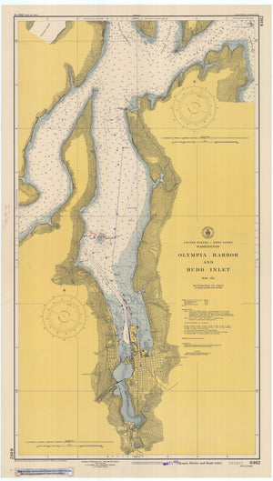 Olympia Harbor and Budd Inlet Map - 1948