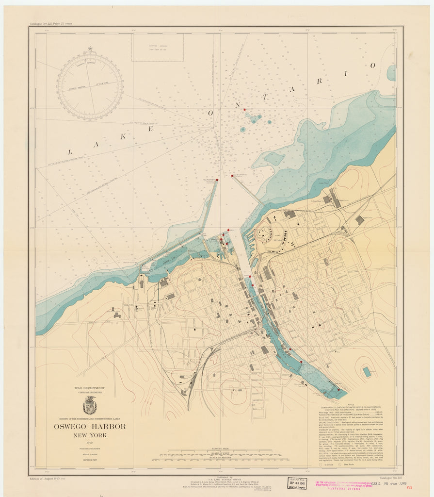 Lake Ontario - Oswego Harbor Map - 1940