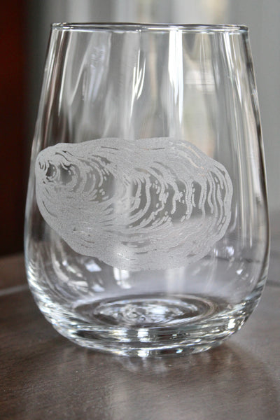 Oyster Engraved Rocks, Stemless Wine & Pint Glasses
