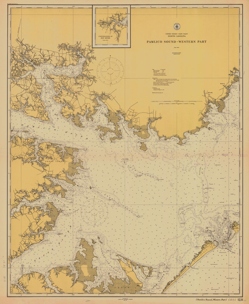 Pamlico Sound Map - 1915