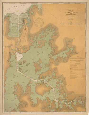 Panama Canal Map - Limon Bay to Mile 29 Historical Map 1914