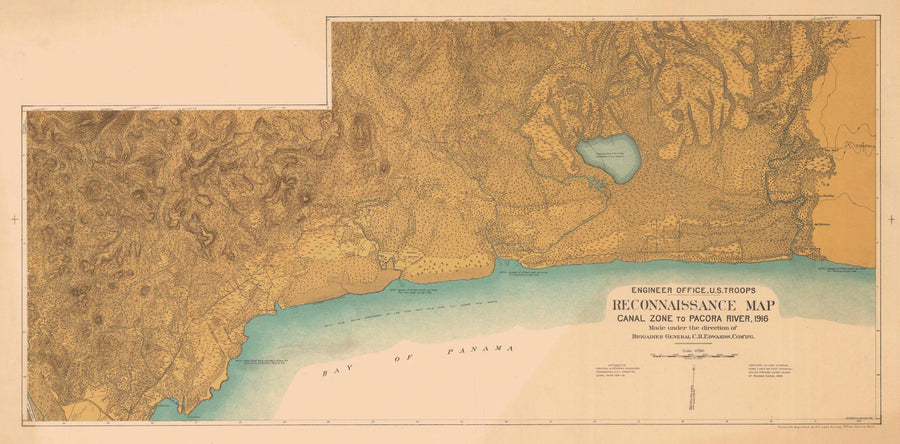 Panama Canal  - Canal Zone to Pacora River Map - 1916