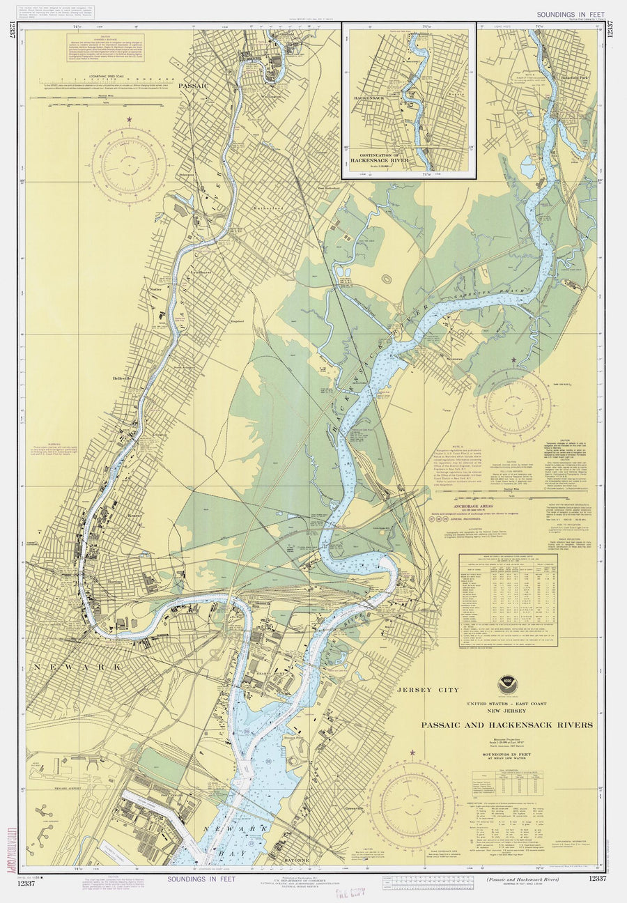 Passaic and Hackensack Rivers Map - 1984