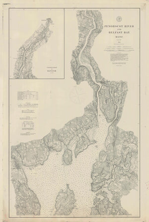 Penobscot River and Belfast Bay Map - 1882
