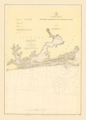 Pensacola Bay Map - Western Approach - 1920