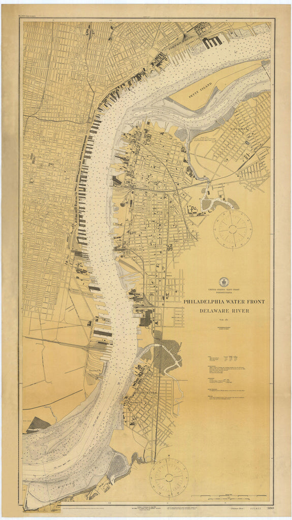 Philadelphia Waterfront and Delaware River Historical Map 1924