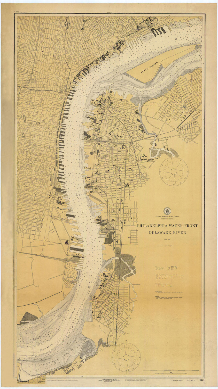 Philadelphia Waterfront and Delaware River Map 1924