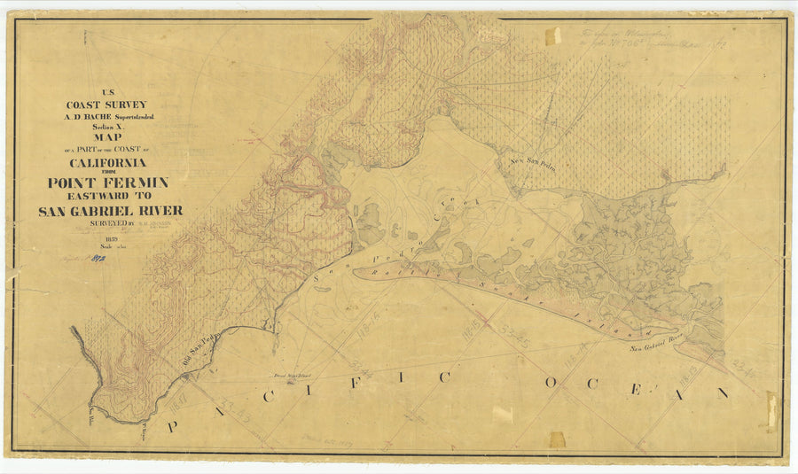 Point Fermin to San Gabriel River Map - 1859