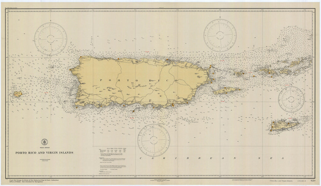 photograph about Printable Map of Puerto Rico known as Puerto Rico Map (Porto Rico) Ancient Chart - 1931
