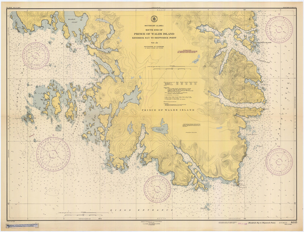 Prince of Wales Island - Alaska Historical Map 1934 – Nautical Chart on ofuna pow camp map, camp johnson building number map, prisons in missouri map, columbia river on north american map,