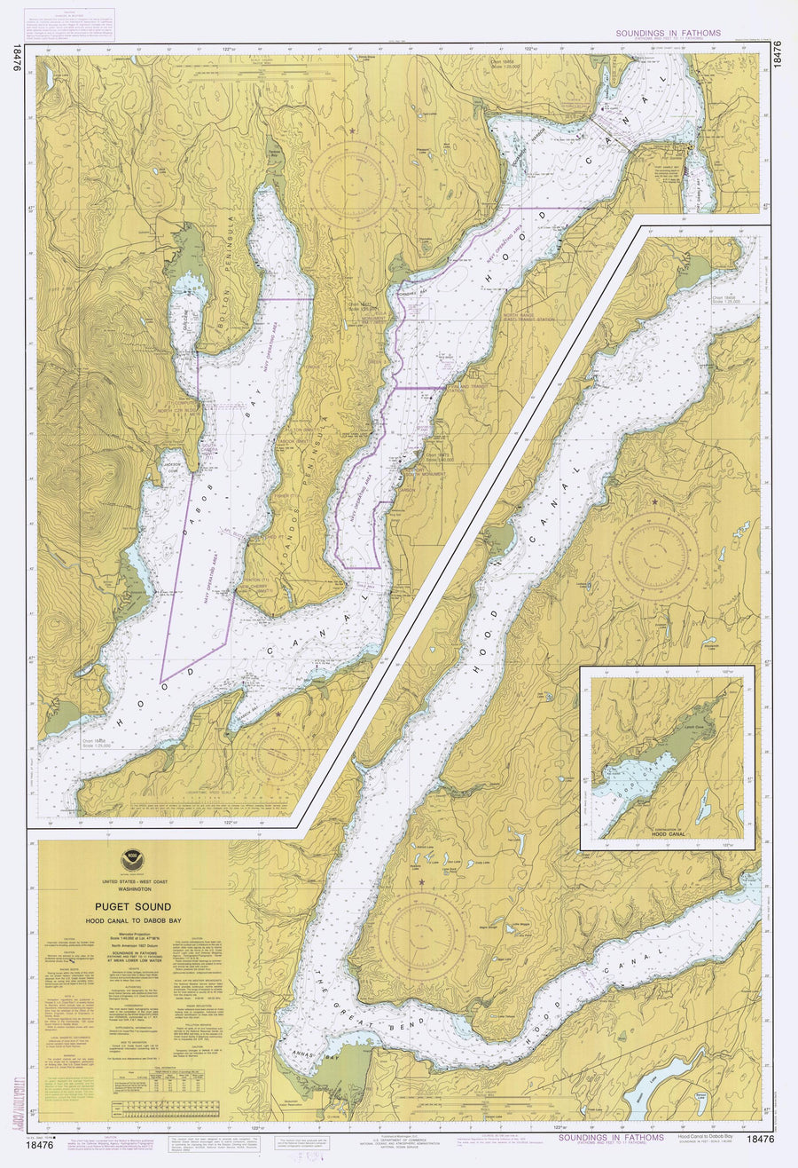 Puget Sound - Hood Canal to Dabob Bay Map 1984