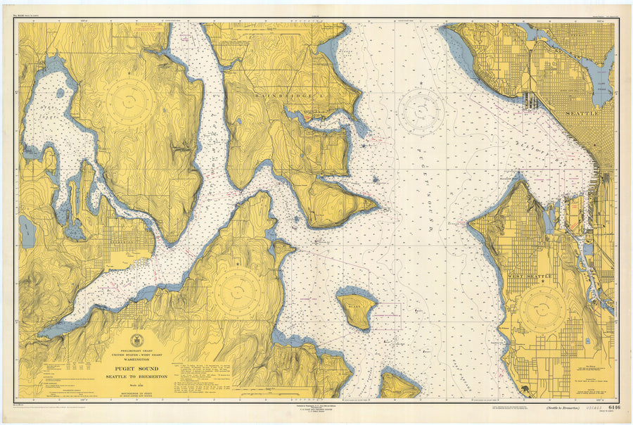 Puget Sound (Seattle to Bremerton) Map 1948