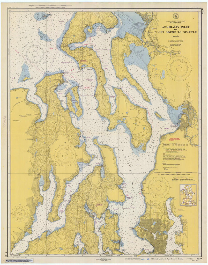 Puget Sound & Admiralty Inlet Historical Map 1949