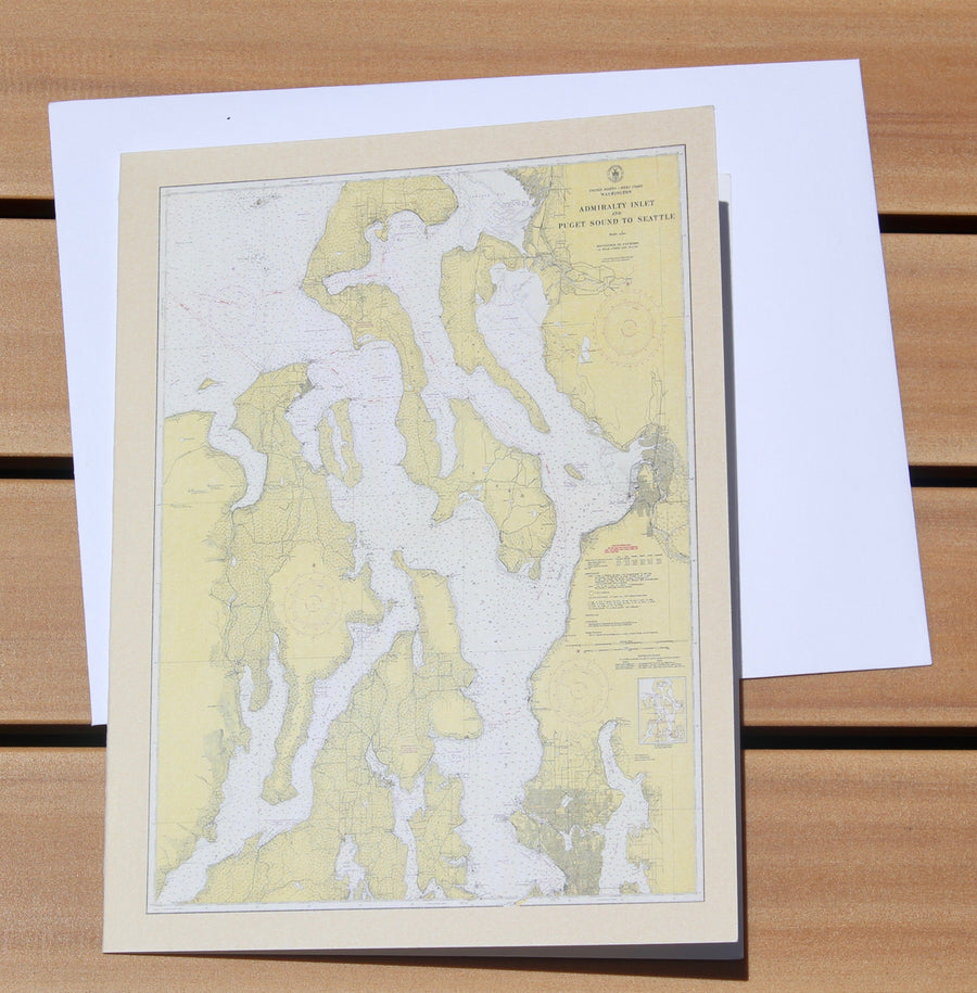 "Puget Sound & Admiralty Inlet Map Notecards (1948) 4.25""x5.5"""