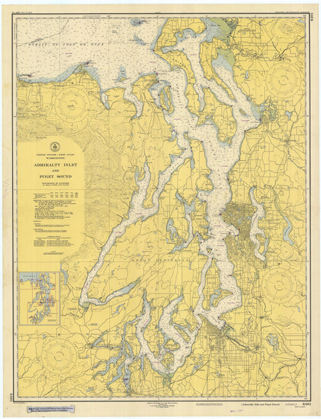 Puget Sound & Admiralty Inlet Map 1948
