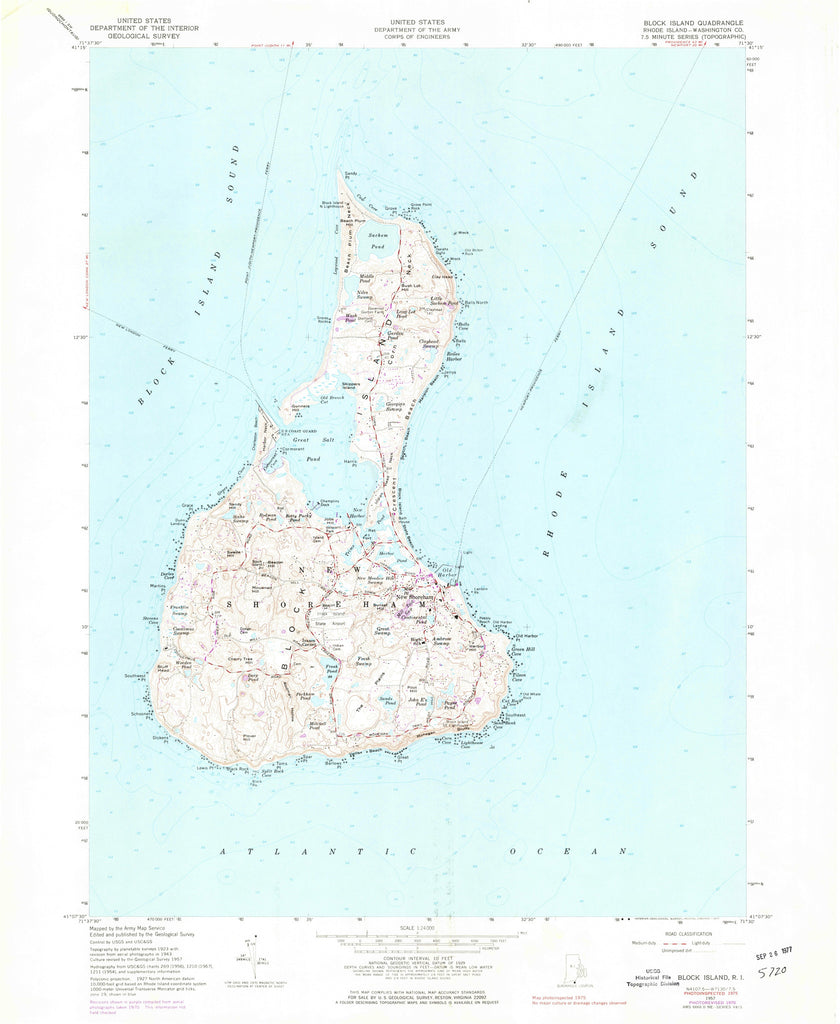 Block Island Historical Map - 1957