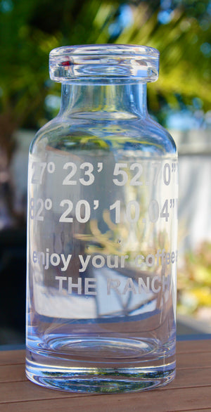 Custom GPS Coordinates Engraved Glass Carafe