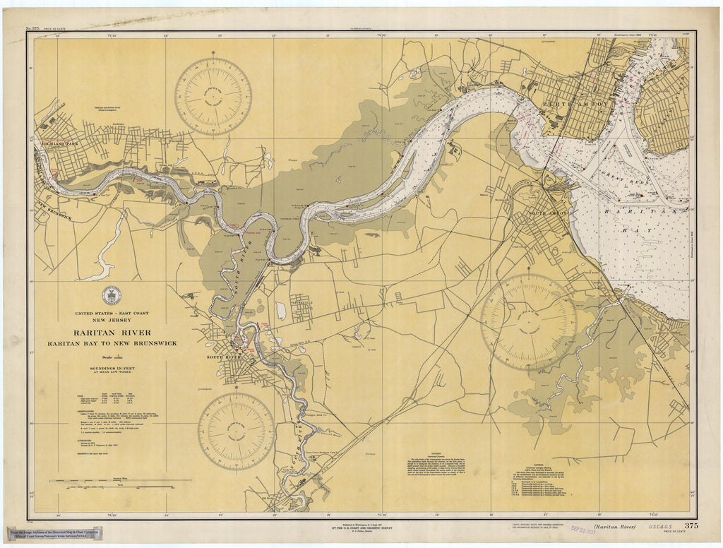 Raritan River - Raritan Bay to New Brunswick Map - 1937