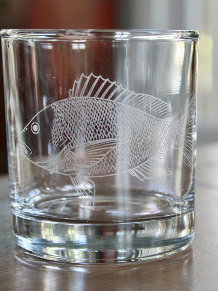 Red Snapper - Engraved Rocks, Stemless Wine & Pint Glasses