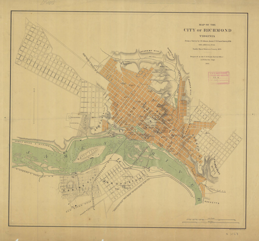 Richmond Virginia Map - 1864
