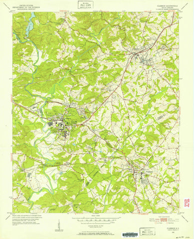 Clemson South Carolina Topographic Map - 1951