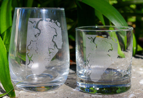 St. Simons Island Map - Engraved Rocks, Stemless Wine & Pint Glasses