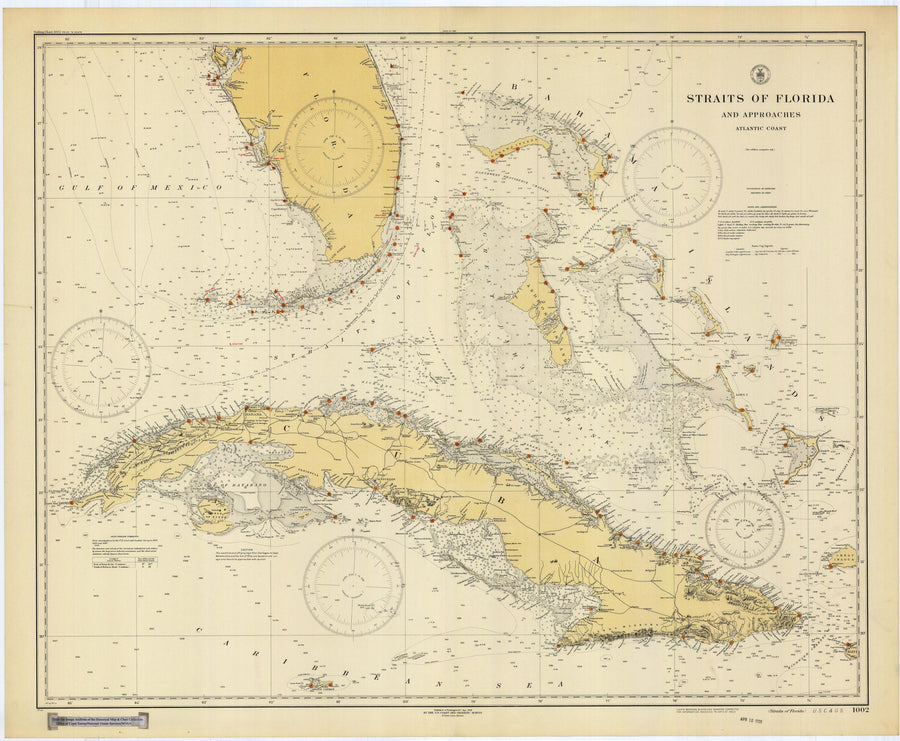 Straits of Florida Historical Map - 1928