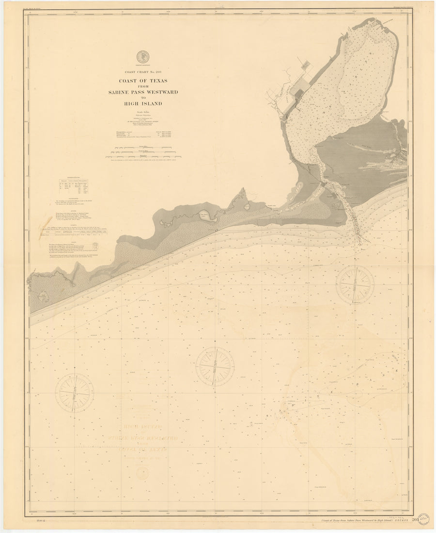Sabine Pass Westward to High Island Map - 1900