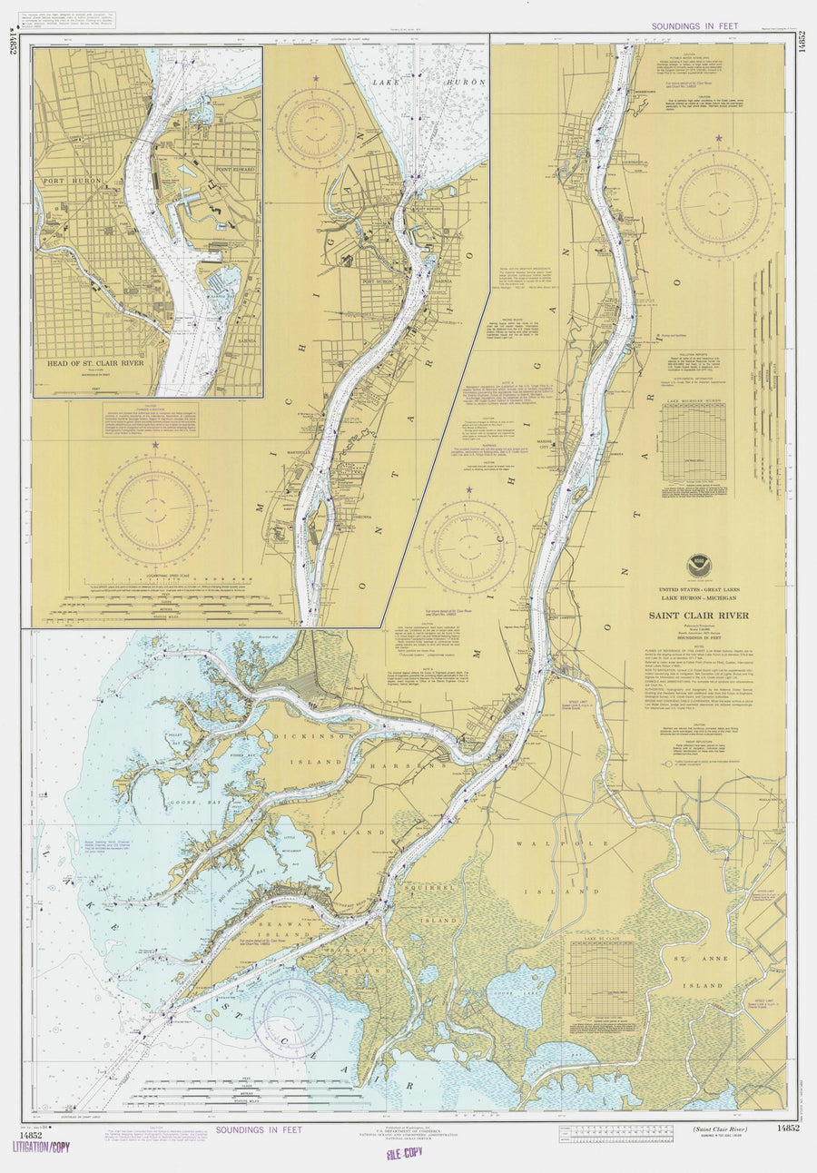 Saint Clair River Map - 1984