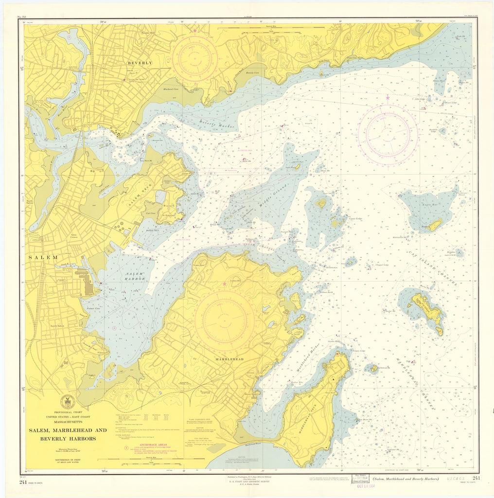 Salem Marblehead and Beverly Harbors Map - 1954